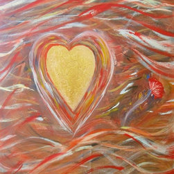 Heart of Gold - 40x30 Acrylic on Canvas.  Comes fully framed in gold; ready to hang.  Artist woudld be happy to send picture of fully framed painting.  One of a kind original.