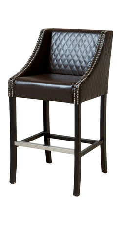 Great Deal Furniture - Filton Quilted Leather Counter Stool, Brown - Helping to match your kitchen decor with your living room style, this counter stool is the perfect piece. It features luxurious quilted bonded leather paired with dark wooden legs. The adjacent armrests are unique while not being intrusive to the comfortable width of the seat. Quilting in the leather offers fabulous style and additional comfort and the curved edges are perfectly complemented with chrome studded accents.