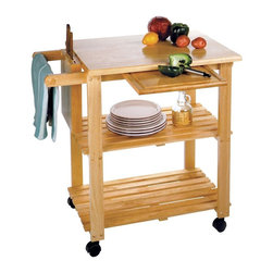 Winsome Wood - Beechwood Utility Cart w Sliding Tray Surface - This attractive, full-featured Utility Cart with two shelves offers an incredible value! The sturdy, solid Beechwood cart features two storage shelves, a knife block, cutting board and towel rack. If that wasn't enough, this stylish cart rolls conveniently on heavy-duty casters. A utility cart for all purposes, this beechwood work cart has a slide-out cutting board and a built in knife block. Open shelves are ready to store small appliances and cook books. * Two storage shelves. On casters for easy transport. Features knife block and cutting board. Solid Beechwood construction. H x W x D: 32 in. x 33.5 in. x 20.5 in.