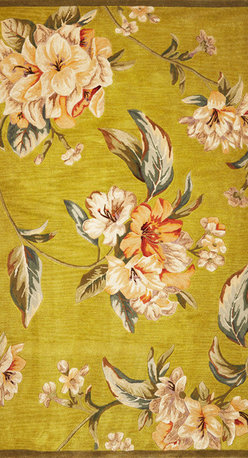 "Kas - Tropical Floral Elegance Pistachio Sparta Floral 8'6"" x 11'6"" Kas Rug  by RugLot - Our Sparta Collection is an exclusively designed line of hand-tufted carpets with an antique finish. These rugs are made in China using high density Chinese wool. Classic and new designs in floral and other styles have been constructed using current color trends. These rugs are finished with an antique vegetable-dyed look and abrash effect. The combination of fresh color and design and antique finish gives this collection unique trend-setting characteristics."