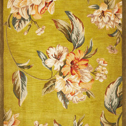 """Kas - Tropical Floral Elegance Pistachio Sparta Floral 8'6"""" x 11'6"""" Kas Rug  by RugLot - Our Sparta Collection is an exclusively designed line of hand-tufted carpets with an antique finish. These rugs are made in China using high density Chinese wool. Classic and new designs in floral and other styles have been constructed using current color trends. These rugs are finished with an antique vegetable-dyed look and abrash effect. The combination of fresh color and design and antique finish gives this collection unique trend-setting characteristics."""