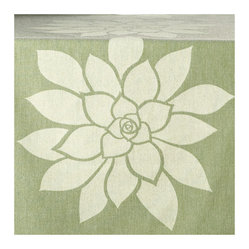 Bloom Eco Table Runner, Cream/Heather Green