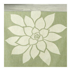 Wabisabi Green - Bloom Eco Table Runner, Cream/Heather Green - Close your eyes and imagine this lotus flower freely floating on your dining or coffee table. With its ecofriendly fabric, soothing color and modern design, you can also hang it as a wall decoration or bed accessory for a meditative look. Namaste.