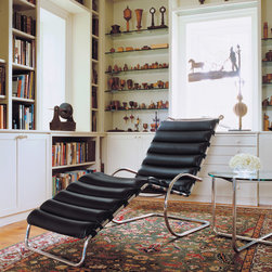 MR Chaise - The MR Collection represents some of the earliest steel furniture designs by Mies van der Rohe. The material choice was inspired by fellow Bauhaus master Marcel Breuer, while the forms are thought to be modern derivatives of 19th century iron rocking chairs.