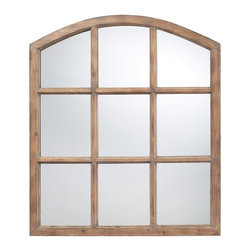 Joshua Marshal - Union Wood Mirror In Faux Window Design N A Natural Oak Finish - Union Wood Mirror In Faux Window Design N A Natural Oak Finish