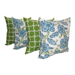 Land of Pillows - Riley Faxon and Linked Bay Green and White Outdoor Throw Pillows - Set of 4, 18x - Fabric Designer - Premier Prints