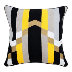 Villa Home - Pair of Jordan Yellow Multi Pillows by Villa Home - The contemporary design and striking colors of these 100% cotton pillows are sure to make a statement. Put these together with the Chic Neon Yellow Pillows for a bright, uplifting space. Maybe an acrylic or mirrored coffee table and white faux fur area rug? (VH)