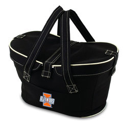 Picnic Time - University of Illinois Mercado Picnic Basket in Black - This Mercado Basket combines the fun and romance of a basket with the practicality of a lightweight canvas tote. It's made of polyester with water-resistant PEVA liner and has a fully removable lid for more versatility. Take it to the farmers market, the beach, or use it in the car for long trips. Carry food or sundries to and from home, or pack a lunch for you and your friends or family to share when you reach your destination. The Mercado is the perfect all-around soft-sided, insulated basket cooler to use when you want to transport a lunch or food items and look fashionable doing it.; College Name: University of Illinois; Mascot: Fighting Illini; Decoration: Digital Print; Includes: 1 removable canvas lid