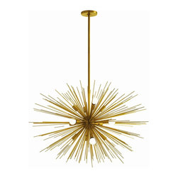Arteriors - Zanadoo Chandelier, Brass, Large - Radiate brilliant light — and equally brilliant design — on your favorite setting. This supernova of a chandelier is formed from metal spokes with your choice of polished nickel or antique brass finishes.