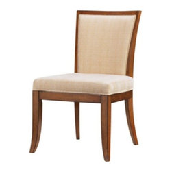 Tommy Bahama - Tommy Bahama by Lexington Home Brands Ocean Club Kowloon Side Chair Multicolor - - Shop for Dining Chairs from Hayneedle.com! Designed for contemporary homes that are big on casual laid-back elegance the Tommy Bahama Home Ocean Club Kowloon Side Chair showcases the very best of island chic. Designed to make an impression in most upscale dining spaces this chair's upholstered seat and back in woven taupe and cream fabric envelop you in such luxurious comfort that you might be tempted to linger at the table longer than necessary! Clean lines elegantly tapered legs and a smart silhouette add to this chair's upscale appeal. Sturdily constructed of select hardwoods and hickory veneers and finished in warm Bali Brown this side chair is just what you need to transform your dining space into a tropical resort.About Tommy Bahama HomeTommy Bahama started as an upscale men's casual sportswear line and has transformed into a signature brand expanding their product line to accommodate women's apparel golf wear footwear home furnishings and even retail and restaurant compounds. The Tommy Bahama brand represents quality products with fashion forward designs that are available at an affordable price. Their signature island-lifestyle designs suggest a modern style with an emphasis on comfort and relaxation.