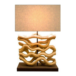 Scandinavian Design - Sculptur Vine Table Lamp - Add a touch of grace to your room with this Small sculptured table lamp, Scandinavian Designed that provides high quality craftsmanship that is truly magnificent, made of bleached sculpted Vine wood with a coarse shade to complement it.