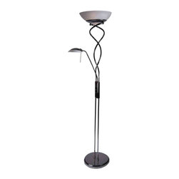 Joshua Marshal Home Collection - 3 Light Satin Chrome Torchiere Floor Lamp with Reading Light - A spiral twist body lends this torchiere floor lamp an exciting visual appeal. Sidelight adds flair and functionality. Sophisticated black chrome finish complements the frosted glass shade. Both the top torchiere lamp and the side reading lamp has a fully dimmable hi/lo switch, mounted on column. Uses two 100 watt incandescent bulbs (not included) for the top and one 40 watt G9 type bulb (included) for the reading light.
