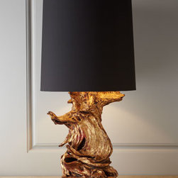 """Arteriors - Arteriors """"Ashland"""" Gold-Leaf Lamp - Add organic beauty as well as light to any room with this unique lamp. Natural wood base; lamps may vary. Gold-leaf finish. Polyester shade with cotton lining. Three-way switch on socket; uses one 150-watt bulb. 16.5""""Dia. x 32.5""""T. Imported."""
