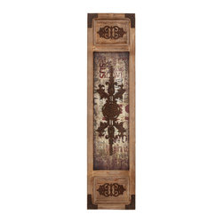 Wall Panel with Symmetrical Motifs and Unique Design - Make your plan wall look special by decorating it with Wood Metal Wall Panel with Symmetrical Motifs and Unique Design. With its eclectic design, this wall panel is sure to be admired. This wall panel makes a perfect wall art piece with its rustic wooden look and metal corner panels. This beautiful panel is compact enough to not occupy too much space, but still manages to focus all attention on its unique central design pattern that seems embossed onto the worn out and faded paper base. The symmetrical motifs on either end add oodles of class to this panel, and you can hang it up horizontally as well as vertically. You can cascade similar wood panels to create a collage of sorts that can easily increase the aesthetic appeal of your walls. Get them as gifts for a friend or dear one?s new home. It comes with following dimensions: