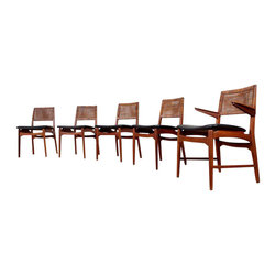 Caned Danish Teak Dining Chairs - Set of 5 -