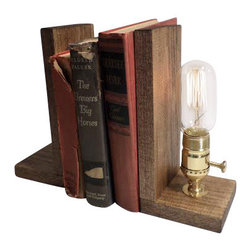 "Urban Industrial Craft - Rustic Brass Edison Bulb Bookend Lamp, Rustic Oak Finish, Includes Bulb - The ""Perry"" Edison Industrial Lamp"