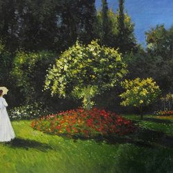 overstockArt.com - Monet - Jeanne-Marguerite Lecadre (Lady in a Garden) - Hand painted oil reproduction of a famous Monet painting, Jeanne-Marguerite Lecadre (Lady in a Garden). originally created in 1867. Today it has been carefully recreated detail-by-detail, color-by-color to near perfection. Why settle for a print when you can add sophistication to your rooms with a beautiful fine gallery reproduction oil painting? While Monet successfully captured life's reality in many of his works, his aim was to analyze the ever-changing nature of color and light. Known as the classic Impressionist, Monet cannot help but inspire deep admiration for his talent in those who view his work. This work of art has the same emotions and beauty as the original. Why not grace your home with this reproduced masterpiece? It is sure to bring many admirers!