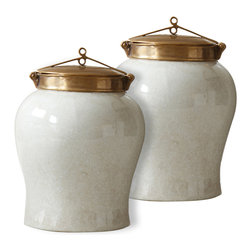 Kathy Kuo Home - White Crackle Blossom Asian Porcelain Bronze Lidded Small Tea Jar - Pair - A white crackle finish brings the gorgeous curves of this Asian tea jar to life.  Lift the shining bronze lid with exquisite craftsmanship detailing to reveal and read the tea leaves within.  They'll tell you they've never looked better than when stored in this stunner on the shelf of your modern loft.