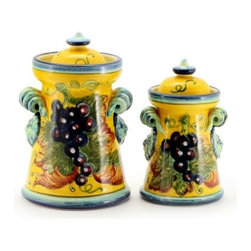 Artistica - Hand Made in Italy - UVA FONDO GIALLO: Renaissance Canisters Curly Handles (Set of two) - UVA FONDO GIALLO: With its gorgeous Tuscan Yellow background, this all new collection feature products depicting grapes and foliage.