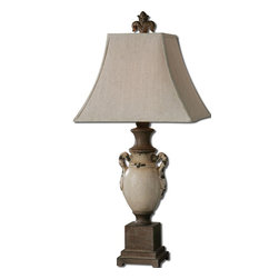 Uttermost - Uttermost Francavilla Ivory Table Lamp 27437 - Heavily distressed, antiqued, crackled ivory ceramic with rust bronze details. The square top, rectangle bottom, bell shade is a khaki linen fabric with natural slubbing.
