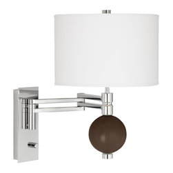"""Color Plus - Contemporary Carafe Niko Swing Arm Wall Lamp - From the Color + Plus™ lighting collection this swing arm wall lamp lets you add a sophisticated designer color accent to your home decorating. The lamp is custom-made by artisans in our California workshops. It features a designer Carafe brown color glass ball finial a stunning chrome finish and white drum shade. Installation is easy simply mount the lamp and plug in to any standard wall outlet. Swing arm wall lamp.Exclusive Carafe brown designer color. White poly cotton shade. Chrome finish. Easy plug-in style. Full-range dimmer. Maximum 100 watt or equivalent bulb (not included).18"""" high. 21"""" extension. Shade is 12"""" wide 8"""" high. Glass ball finial is 4 1/2"""" wide. Backplate is 9"""" high 3 1/2"""" wide.  Swing arm wall lamp.  Exclusive Carafe brown designer color.  White poly cotton shade.  Chrome finish.  Easy plug-in style.  Full-range dimmer.  Maximum 100 watt or equivalent bulb (not included).  18"""" high.  21"""" extension.  Shade is 12"""" wide 8"""" high.  Glass ball accent is 4 1/2"""" wide.  Backplate is 9"""" high 3 1/2"""" wide."""