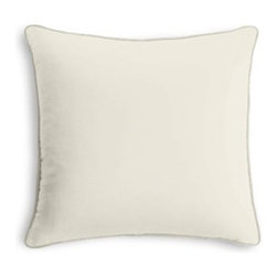 Ivory Cotton Sateen Custom Throw Pillow - Black and white photos, Louis XIV chairs, crown molding: classic is always classy. So it is with this long-time decorator's favorite: the Corded Throw Pillow. We love it in this ivory lightweight cotton sateen with a beautiful luster and smooth finish.