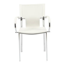Eurostyle - Vinnie Arm Chair (Set Of 2)-Wht/Chrm - Regenerated leather seat, back and armrests