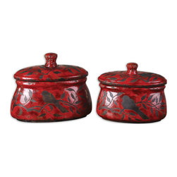 Uttermost - Uttermost Siana 2 Ceramic Boxes in Bright Red - 2 Ceramic Boxes in Bright Red belongs to Siana Collection by Uttermost Crackled, bright red ceramic with aged black undertones. Removable lids. Sizes: Sm-11x9x6, Lg-12x12x6. Box (2)
