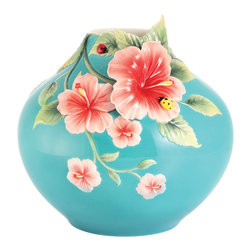 Franz Porcelain - FRANZ PORCELAIN COLLECTION Forever In Love Hibiscus and Ladybug Medium Vase FZ03 - Finished In Lead Free Glazes * Hand Painted By Franz Porcelain Artisans * FDA Approved Food/Plant Safe * New In The Original Box