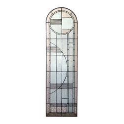 Meyda Tiffany - Meyda Tiffany Right Arc Deco Stained Glass Tiffany Window X-96822 - This Meyda Tiffany right Art Deco stained glass Tiffany window is designed to be paired with the left version with coordinating detailing. This geometric inspired pattern features clean tones and simple details, making it an easy addition to contemporary, modern or even traditionally styled homes.
