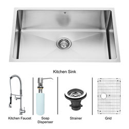 """Vigo - All in One 30"""" Undermount Kitchen Sink and Chrome Faucet Set - Breathe new life into your kitchen with a VIGO All in One Kitchen Set featuring a 30"""" Undermount kitchen sink, faucet, soap dispenser, matching bottom grid and sink strainer.; This single bowl sink is manufactured with 16 gauge premium 304 Series stainless steel construction with commercial grade premium scratch resistant satin finish; Fully undercoated and padded with a unique multi layer sound eliminating technology, which also prevents condensation.; All VIGO kitchen sinks are warranted against rust; Distinctive 25 mm radius curved corners with rear standard 3 1/2"""" drain placement; Exterior dimensions: 30"""" W x 19"""" D; Interior dimensions: 28"""" W x 17"""" D; Depth: 9 7/8""""; Required interior cabinet space: 32""""; Kitchen sink is cUPC and NSF-61 certified by IAPMO; All mounting hardware and cutout template provided for 1/8"""" reveal or flush installation; Sink model: VGR3019C; Faucet features a spiral pull-down spray head for powerful spray and separate spout for aerated flow, and is made of solid brass with a chrome finish.; Includes a spray face that resists mineral buildup and is easy-to-clean; High-quality ceramic disc cartridge; Retractable 360-degree swivel spout expandable up to 20""""; Single lever water and temperature control; All mounting hardware and hot/cold waterlines are included; Water pressure tested for industry standard, 2.2 GPM Flow Rate; Standard US plumbing 3/8"""" connections; Faucet height: 27 1/4""""; Faucet spout reach: 10 1/8""""; Faucet sprayer reach: 8 1/8""""; Kitchen faucet is cUPC, NSF-61, and AB1953 certified by IAPMO.; Faucet is ADA Compliant; 2-hole installation with soap dispenser; Faucet model: VG02007CH; Soap dispenser is solid brass with an elegant chrome finish and fits 1 1/2"""" opening with a 3 1/2"""" spout projection.; Matching bottom grid is chrome-plated stainless steel with vinyl feet and protective bumpers.; Sink strainer is made of durable solid brass in chrome finish; All VIGO """