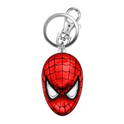 KOOLEKOO - Spider-Man Head Key Chain - Add some Spider-Man flair to your keys! This Spider-Man Head Colored Pewter Key Chain is the perfect thing for Spider-Man fans. It features Spidey's face / mask colored in the classic red with black spider-web design!