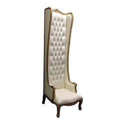 High Back Chair, Gold/White - This high back chair is made of solid mahogany wood, and carved by hand. The chairs are ornately carved on the top, arms and front.