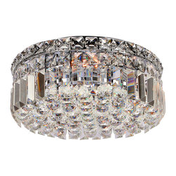Worldwide Lighting - Cascade Collection 4 Light Chrome Finish Crystal Flush Mount Ceiling Light - This stunning 4-light ceiling light only uses the best quality material and workmanship ensuring a beautiful heirloom quality piece. Featuring a radiant chrome finish and finely cut premium grade crystals with a lead content of 30%, this elegant ceiling light will give any room sparkle and glamour. Worldwide Lighting Corporation is a privately owned manufacturer of high quality crystal chandeliers, pendants, surface mounts, sconces and custom decorative lighting products for the residential, hospitality and commercial building markets. Our high quality crystals meet all standards of perfection, possessing lead oxide of 30% that is above industry standards and can be seen in prestigious homes, hotels, restaurants, casinos, and churches across the country. Our mission is to enhance your lighting needs with exceptional quality fixtures at a reasonable price.