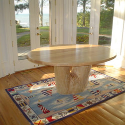 Silver Maple Dining Table - Re-purposed Silver Maple Dining with perfect-peeled Tree Stump Base