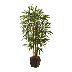 Nearly Natural - Nearly Natural 5.5' Bamboo with Decorative Planter - Here's the ideal home or office decoration to bring the sunshine indoors. This perfect recreation of a beautiful bamboo plant is both bold, and whimsical at the same time. Standing tall at 5.5 feet, it has several trunks that explode in a burst of soft, fine greenery that will look great anywhere you out it - home, office, sun porch... anywhere. Comes with a pretty decorative planter that enhances any decor.