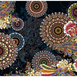 Corro Wall Mural - With Persian inspired touches of paisley and intricate floral medallions this chic wall mural brings a cultured and bohemian motif to life. Rich reds bright blues purple and yellow pop on a dramatic black background.