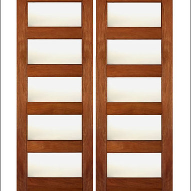 """AAW Inc. - Contemporary Interior Rubi Doors - These are our Contemporary Rubi Doors.  This door has Matte Glass Panels. They are a perfect and affordable choice for any contemporary or modern home.    Doors are made of FSC Certified Brazilian Mahogany.  80"""" tall doors have 4 Glass Panels and 96"""" tall doors have 5 Glass Panels. Matching Exterior doors can be found on our website ( RB-08 and RB-10)"""