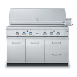 """Viking 54"""" Grill Base Cabinet With 2 Drawers, Stainless Steel 