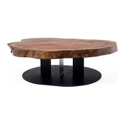 Walnut Slab Coffee Table - Rotsen Furniture creates furniture and artwork integrating wood's organic characteristics with a clean, graceful, modernist aesthetic. Each piece is individually and meticulously hand-crafted, often combining wood with metal, glass or Plexiglas resulting in pieces of exquisite craftsmanship.