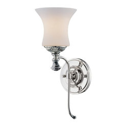 Savoy House - Jemmy Wall Sconce - With sleek, simple elegance, this sconce brings modern design to your wall with so much grace. The sophisticated, inverted bell shape of the white-frost glass will delight your eye, and the polished nickel frame brings all the shine your room needs.