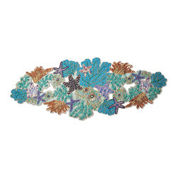 Frontgate - Kim Seybert Sea Odyssey Enchanted Table Runner - Created by noted tabletop designer Kim Seybert. Uses a fresh combination of natural, seafoam, sea green, lilac and gold tones. Embellishments are made from glass, wood, metal, and plastic. Spot clean Table Runner with a small, soft-bristled brush. Coordinates with our Kim Seybert Capiz Shell Placemats and Napkin Rings. Bring the exotic beauty of a coral reef to your table setting with our exclusive Enchanted Sea Odyssey Collection from Kim Seybert. These exquisite pieces celebrate the treasures of the sea with intricate beadwork done in an ocean spray of colors. To create the Table Runner and Coasters, skilled artisans hand-sew thousands of individual beads, stones, and sequins onto a sturdy cotton backing.. . . . . Imported.