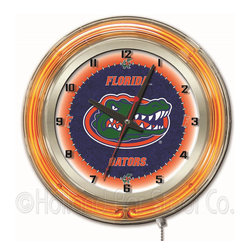 Holland Bar Stool - Holland Bar Stool Clk19FlorUn Florida 19 Inch Neon Clock - Clk19FlorUn Florida 19 Inch Neon Clock belongs to College Collection by Holland Bar Stool Our neon-accented Logo Clocks are the perfect way to show your school pride. Chrome casing and a team specific neon ring accent a custom printed clock face, lit up by an brilliant white, inner neon ring. Neon ring is easily turned on and off with a pull chain on the bottom of the clock, saving you the hassle of plugging it in and unplugging it. Accurate quartz movement is powered by a single, AA battery (not included). Whether purchasing as a gift for a recent grad, sports superfan, or for yourself, you can take satisfaction knowing you're buying a clock that is proudly made by the Holland Bar Stool Company, Holland, MI. Clock (1)