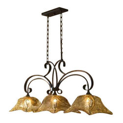 Uttermost Vetraio 3 Lt Bronze Kitchen Island Light - Oil rubbed bronze. Heavy hand made glass is held in classic european iron works giving these pieces a contemporary quality, with strong traditional appeal as well.