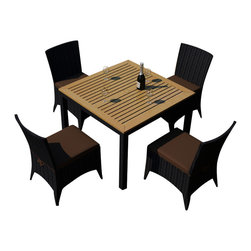 Harmonia Living - Arbor 5 Piece Outdoor Modern Patio Dining Set, Coffee Cushions - The Harmonia Living Arbor 5 Piece Modern Patio Dining Set with Brown Sunbrella cushions (SKU HL-AR-5DN-CO) combines a stylish, modern design with the natural beauty of teak, creating a patio dining set you will enjoy for years. Its teak tabletop has been kiln-dried, removing excess moisture to ensure it will not crack or warp. The set is constructed with durable, thick-gauged aluminum frames, which are protected by a powder coating for superior corrosion resistance. The resin wicker is made of High-Density Polyethylene (HDPE), with its coffee bean color and UV resistance infused into each strand. This creates a rich wicker color that holds up incredibly well with age. Likewise, the Sunbrell seat cushions provide rich, long-lasting color, and create a comfortable dining experience in your modern patio.