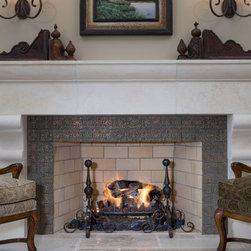 Bronze fireplace surround - Custom bronze fireplace surround.  Bronze tiles have a verdigris patina.