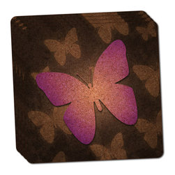 """Made on Terra - Purple Butterfly Butterflies Thin Cork Coaster Set of 4 - You're just cleaning up after your epic party when you realize it... something's different. Unlike all those other times, you're not mopping up cup condensation from your counters and tables. This time, everyone used a coaster. Everyone. Maybe it's because you handed out a coaster with every glass. No. You've tried that before. No, this time it's because of the actual coasters. You found the cutest Made On Terra printed cork coasters. You love that everyone commented on how unique they were,  from the light-weight, thin cork material to the printing that creates a cool and subtle effect. Plus, they're really absorbent, but dry quickly. And they're made from an eco-friendly, sustainable resource, so that makes you feel pretty great, too. Choose from Made on Terra's many fabulous cork coasters. Measures 4"""" x 4"""" x 1/8"""". Made of thin cork. Super cute and nicely absorbent. Sold in sets of four."""
