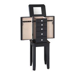 Powell - Powell Black Jewelry Armoire - This armoire is petite and perfectly chic jewelry storage. In a simple,square design with square legs,the armoire features circular drawer knobs.