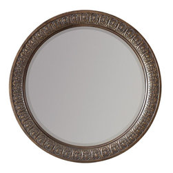 Hooker Furniture - Hooker Furniture Rhapsody Round Mirror - The groundbreaking Rhapsody collection brings together classic design elements, grand scale, and a relaxed rustic finish to create an impassioned marriage of casual opulence. Features: Material: Hardwood Solids & Mirror. Style: Traditional. A classical acanthus leaf carving adorns the round bedroom mirror. Finish: Walnut Colored Rustic Finish.