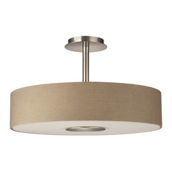 Philips - Philips PH-374811748 Dani Ceiling with Dark beige fabric shade and etched glass, - Philips PH-374811748 Dani Ceiling with Dark beige fabric shade and etched glass, Matte Chrome